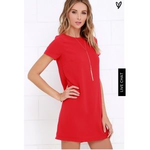 Lulus Shift and Shout Red Shift Dress NWT
